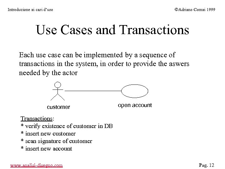 ÓAdriano Comai 1999 Introduzione ai casi d'uso Use Cases and Transactions Each use can