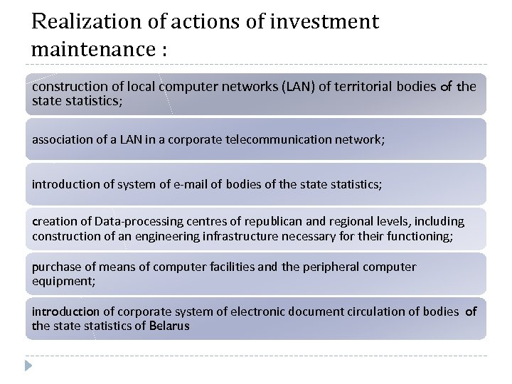 Realization of actions of investment maintenance : construction of local computer networks (LAN) of