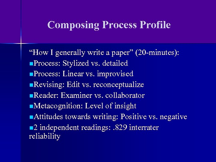 "Composing Process Profile ""How I generally write a paper"" (20 -minutes): n. Process: Stylized"