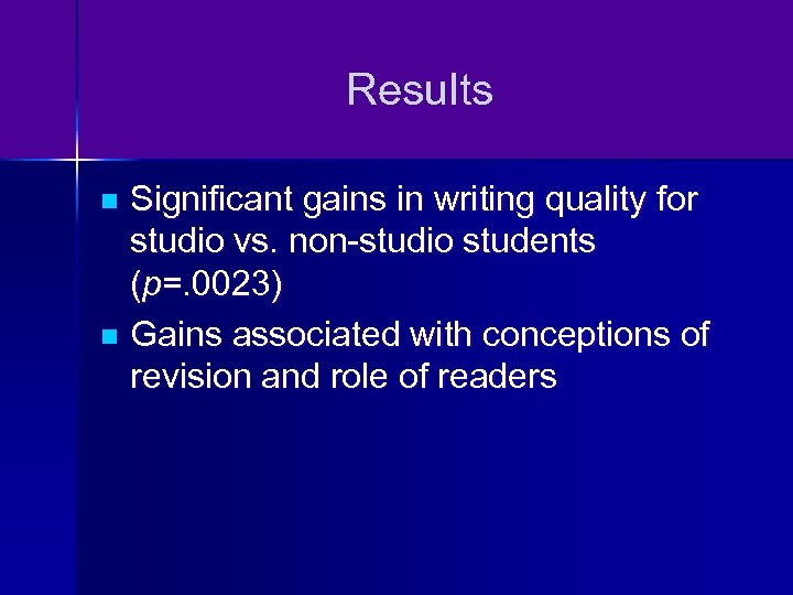 Results Significant gains in writing quality for studio vs. non-studio students (p=. 0023) n