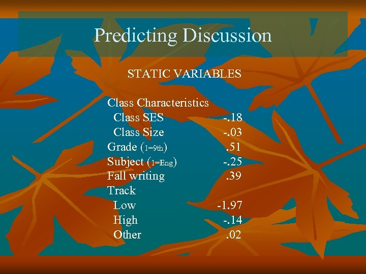 Predicting Discussion STATIC VARIABLES Class Characteristics Class SES -. 18 Class Size -. 03