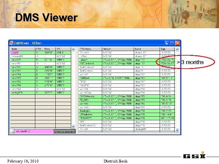 DMS Viewer > 3 months February 18, 2010 Dietrich Beck