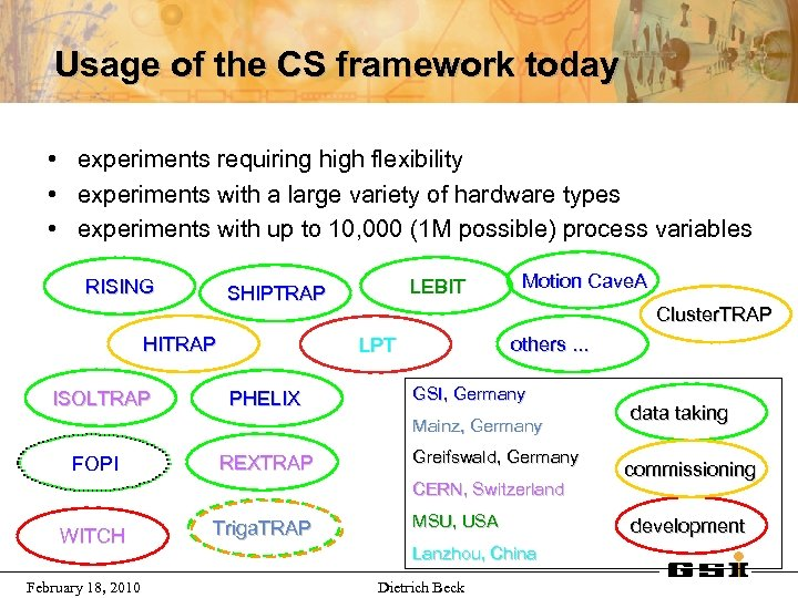 Usage of the CS framework today • experiments requiring high flexibility • experiments with