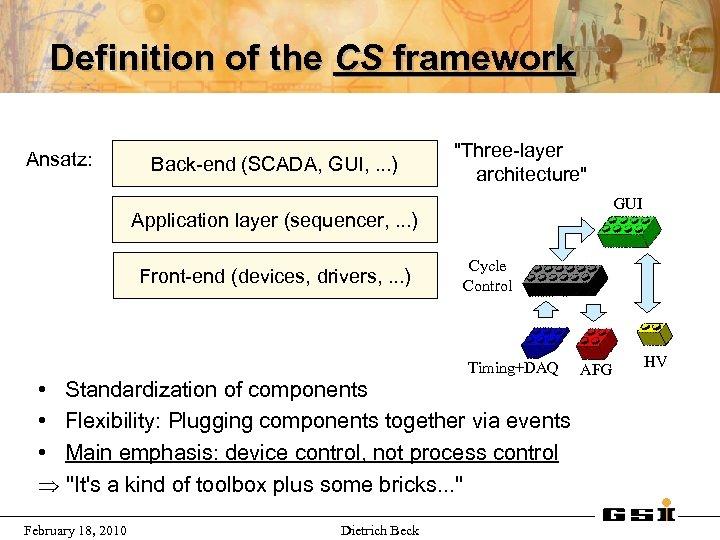 Definition of the CS framework Ansatz: Back-end (SCADA, GUI, . . . )
