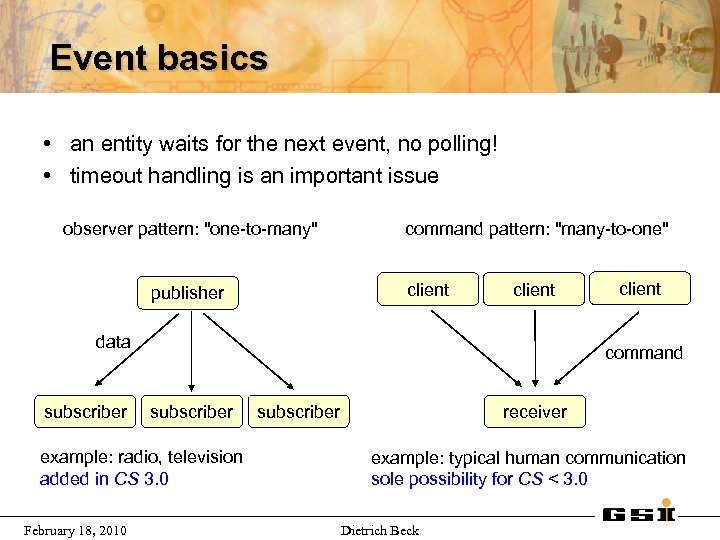 Event basics • an entity waits for the next event, no polling! • timeout