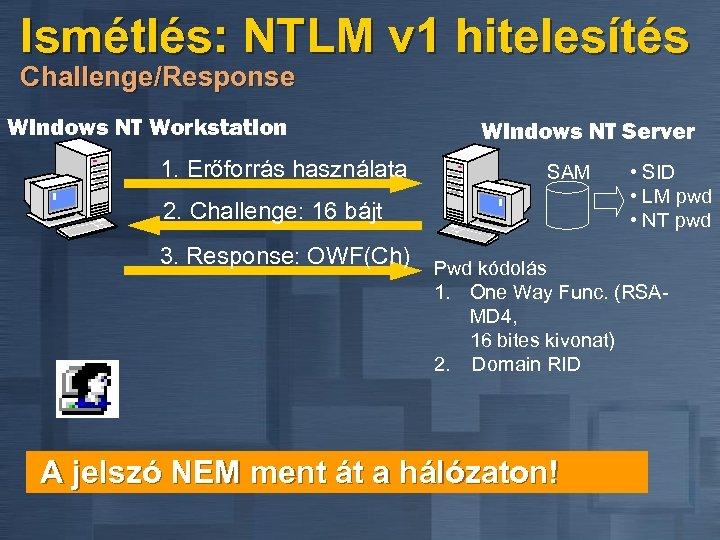 Ismétlés: NTLM v 1 hitelesítés Challenge/Response Windows NT Workstation Windows NT Server 1. Erőforrás