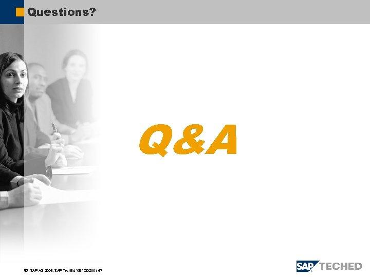 Questions? Q&A ã SAP AG 2005, SAP Tech. Ed ' 05 / CD 200