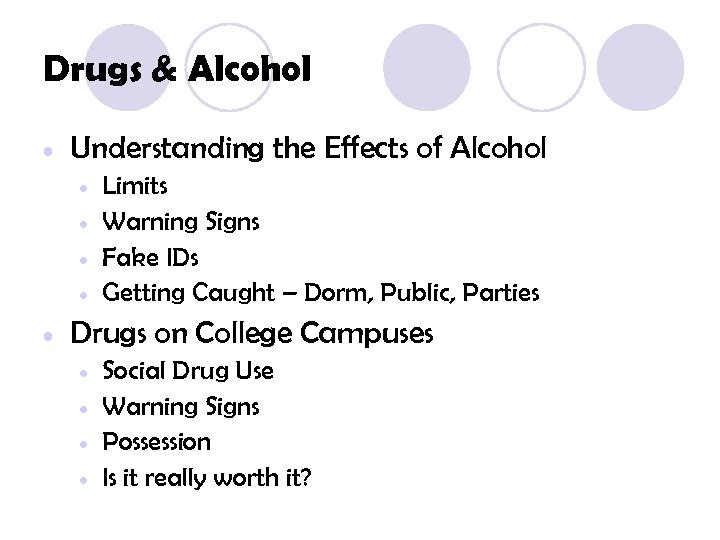 Drugs & Alcohol • Understanding the Effects of Alcohol • • • Limits Warning