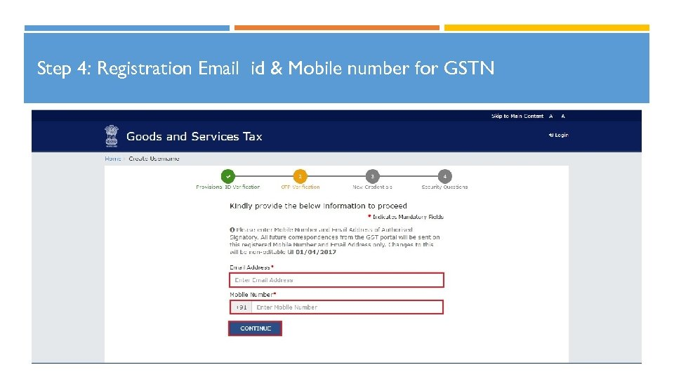Step 4: Registration Email id & Mobile number for GSTN 19