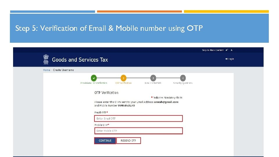 Step 5: Verification of Email & Mobile number using OTP 20