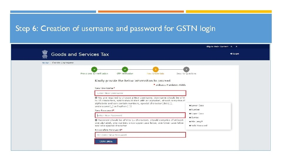 Step 6: Creation of username and password for GSTN login 22