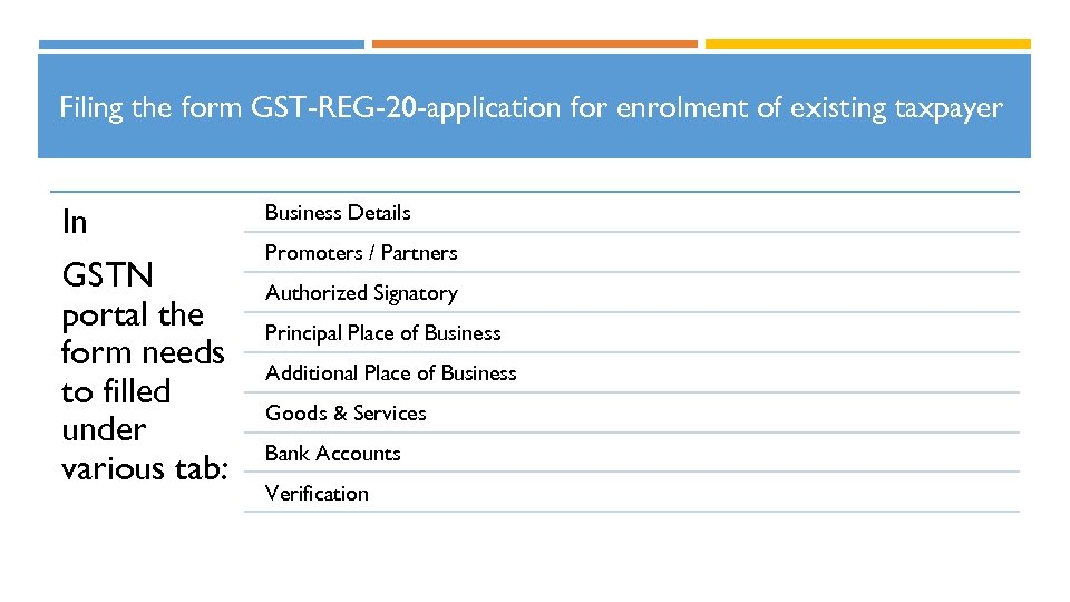 Filing the form GST-REG-20 -application for enrolment of existing taxpayer In GSTN portal the