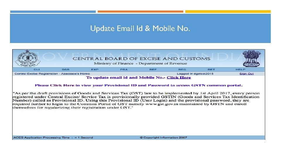 Update Email Id & Mobile No. 7