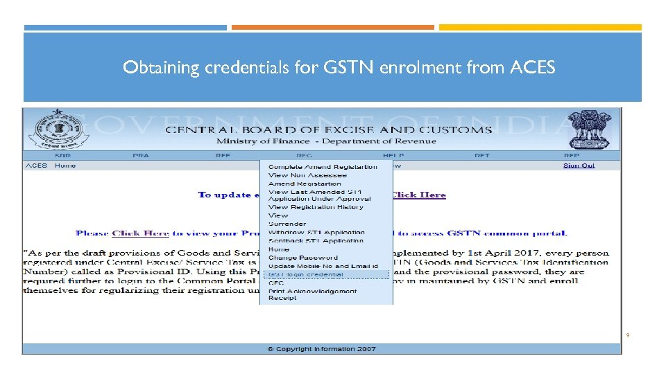Obtaining credentials for GSTN enrolment from ACES 9