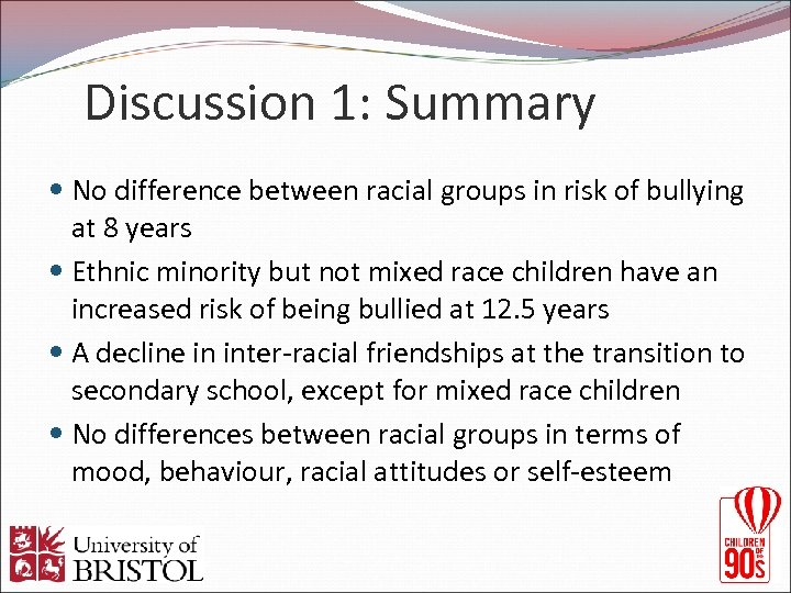 Discussion 1: Summary No difference between racial groups in risk of bullying at 8