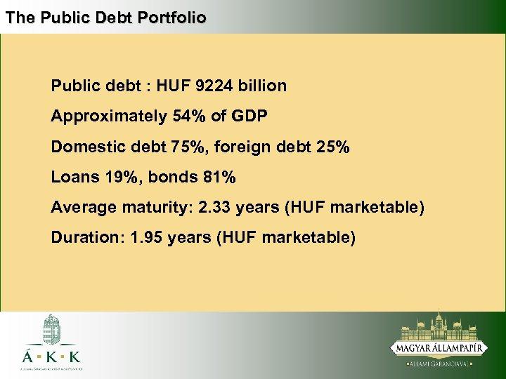 The Public Debt Portfolio Public debt : HUF 9224 billion Approximately 54% of GDP