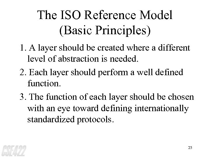 The ISO Reference Model (Basic Principles) 1. A layer should be created where a