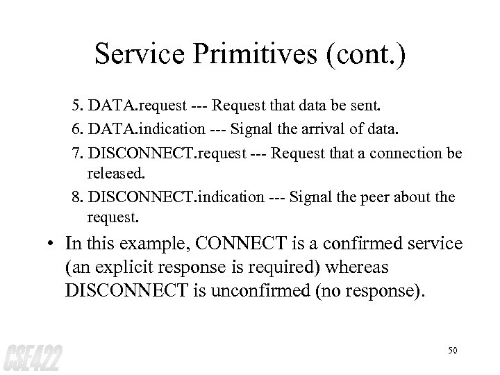Service Primitives (cont. ) 5. DATA. request --- Request that data be sent. 6.