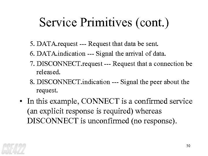 Service Primitives (cont. ) 5. DATA. request --- Request that data be sent. 6.