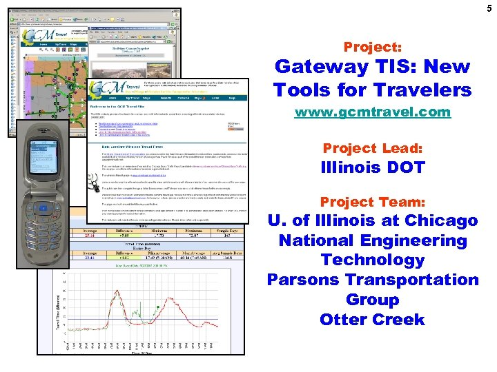5 Project: Gateway TIS: New Tools for Travelers www. gcmtravel. com Project Lead: Illinois