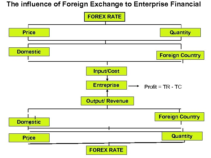 The influence of Foreign Exchange to Enterprise Financial FOREX RATE Price Quantity Domestic Foreign