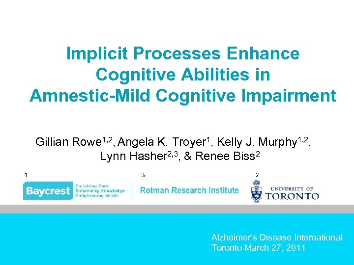 Implicit Processes Enhance Cognitive Abilities in Amnestic-Mild Cognitive Impairment Gillian Rowe 1, 2, Angela