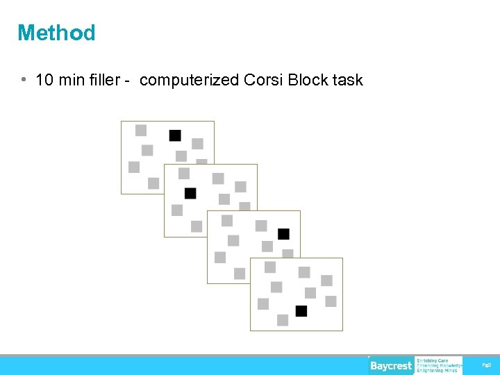Method • 10 min filler - computerized Corsi Block task Pg 8