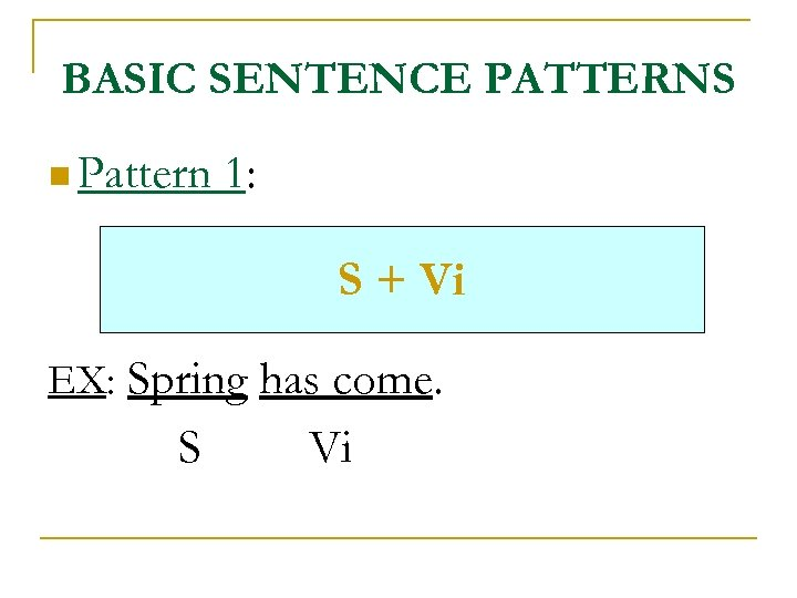 BASIC SENTENCE PATTERNS n Pattern 1: S + Vi EX: Spring has come. S