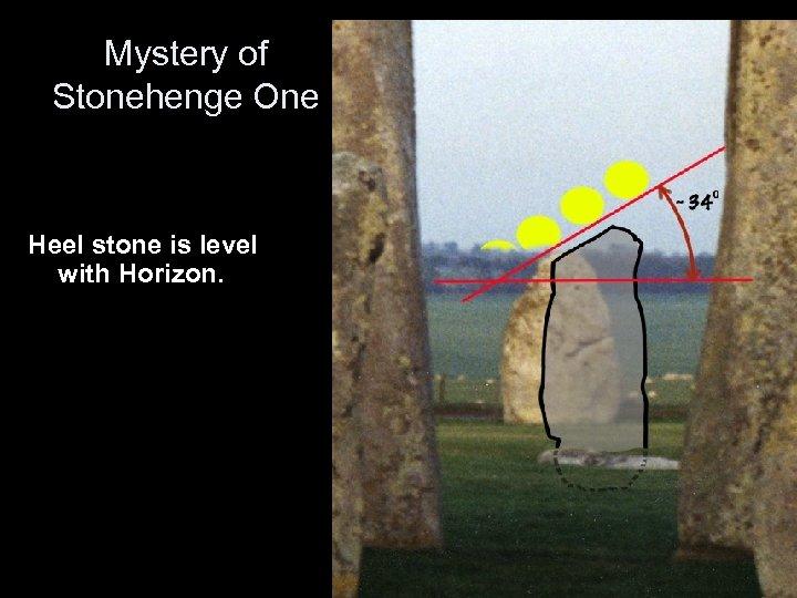 Mystery of Stonehenge One Heel stone is level with Horizon.