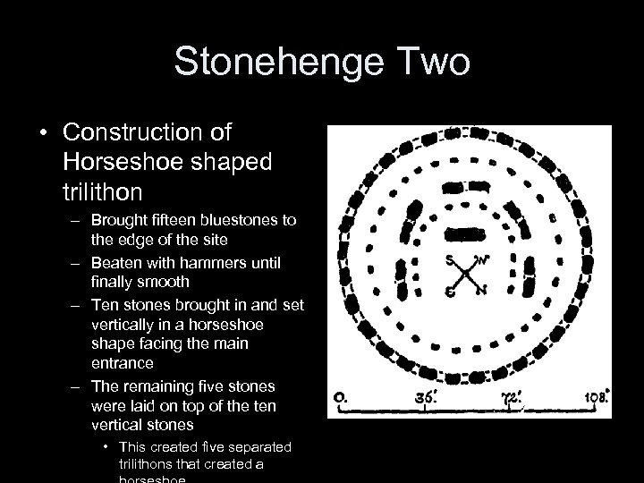 Stonehenge Two • Construction of Horseshoe shaped trilithon – Brought fifteen bluestones to the