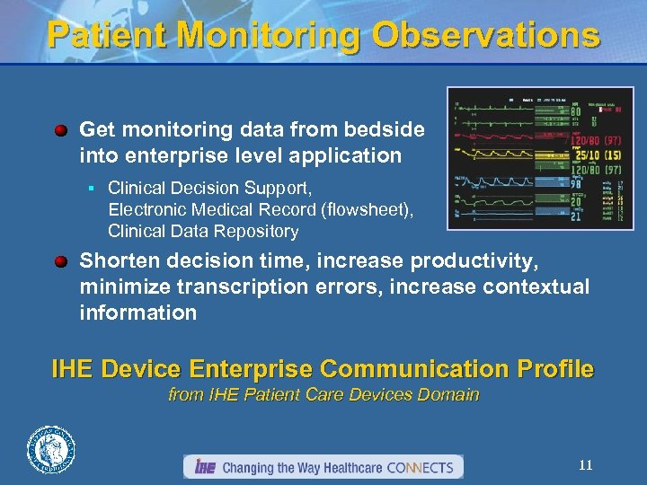 Patient Monitoring Observations Get monitoring data from bedside into enterprise level application § Clinical