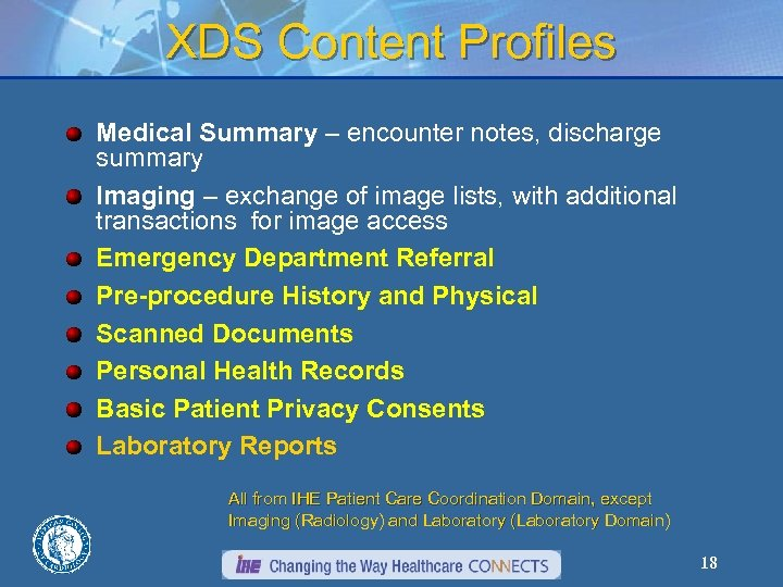 XDS Content Profiles Medical Summary – encounter notes, discharge summary Imaging – exchange of