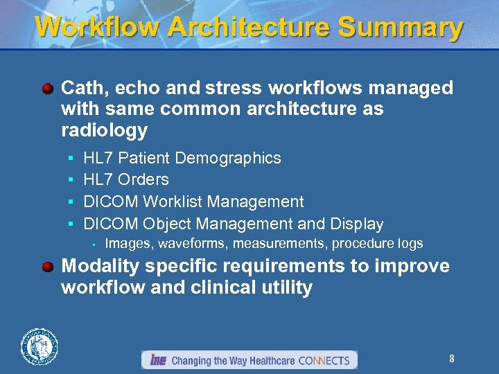 Workflow Architecture Summary Cath, echo and stress workflows managed with same common architecture as