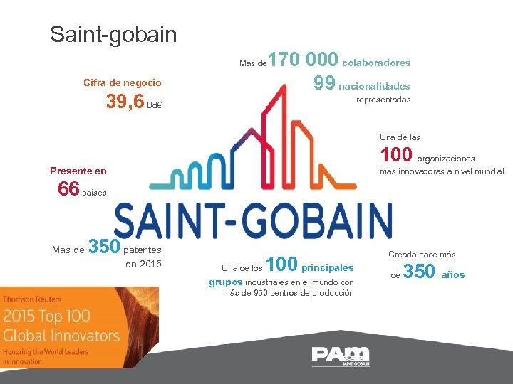Saint-gobain 170 000 colaboradores 99 nacionalidades Más de Cifra de negocio 39, 6 Bd€