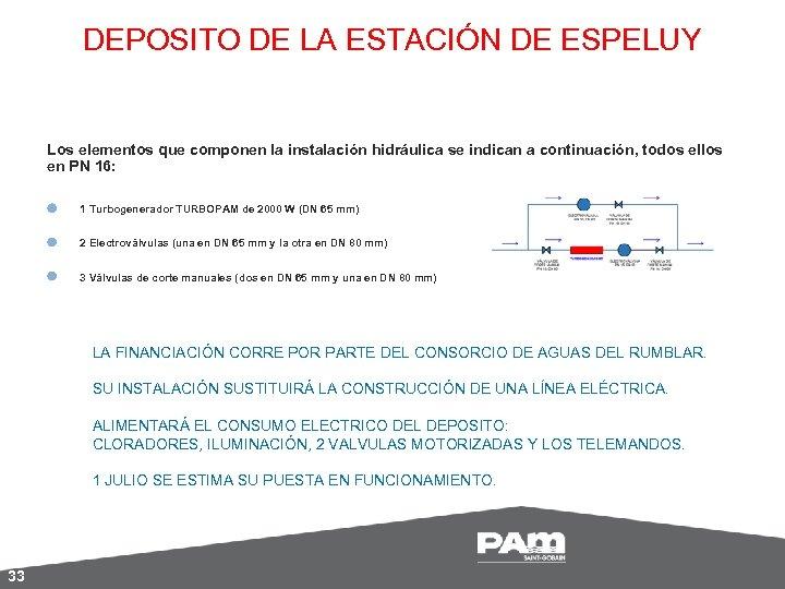 DEPOSITO DE LA ESTACIÓN DE ESPELUY Los elementos que componen la instalación hidráulica se