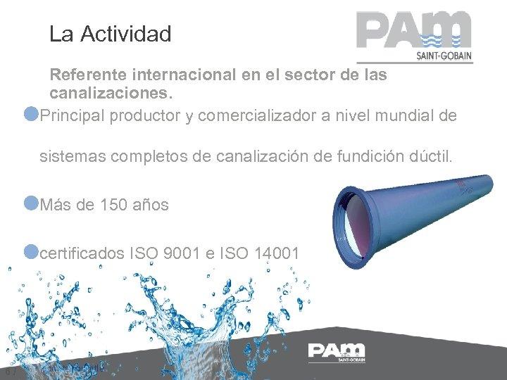 La Actividad Referente internacional en el sector de las canalizaciones. Principal productor y comercializador