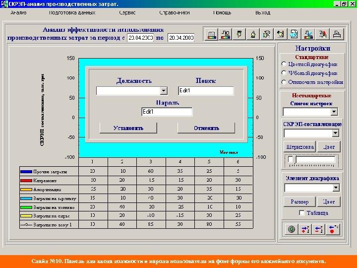 Слайд № 10. Панель для ввода должности и пароля пользователя на фоне формы его