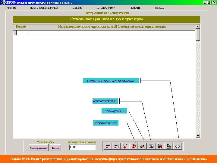 Перейти в режим отображения Форматировать Сортировать Восстановить Слайд № 24. Видеограмма ввода и редактирования