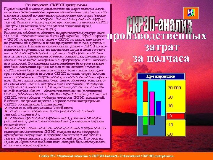 Статические СКРЭП-диаграммы. Первой задачей анализа производственных затрат является задача выявления экономических причин невыполнения плановых