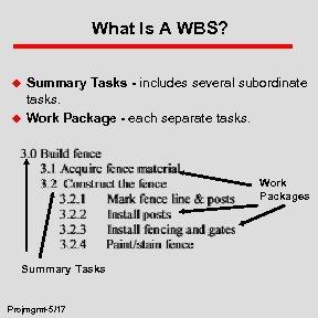 What Is A WBS? u u Summary Tasks - includes several subordinate tasks. Work