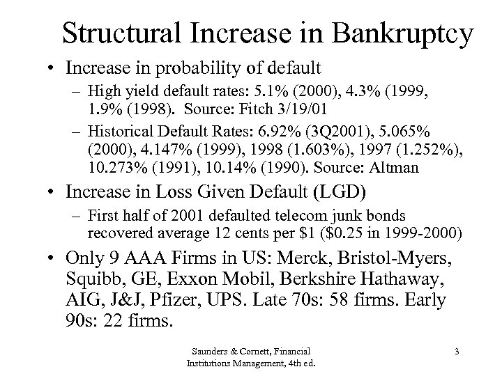 Structural Increase in Bankruptcy • Increase in probability of default – High yield default