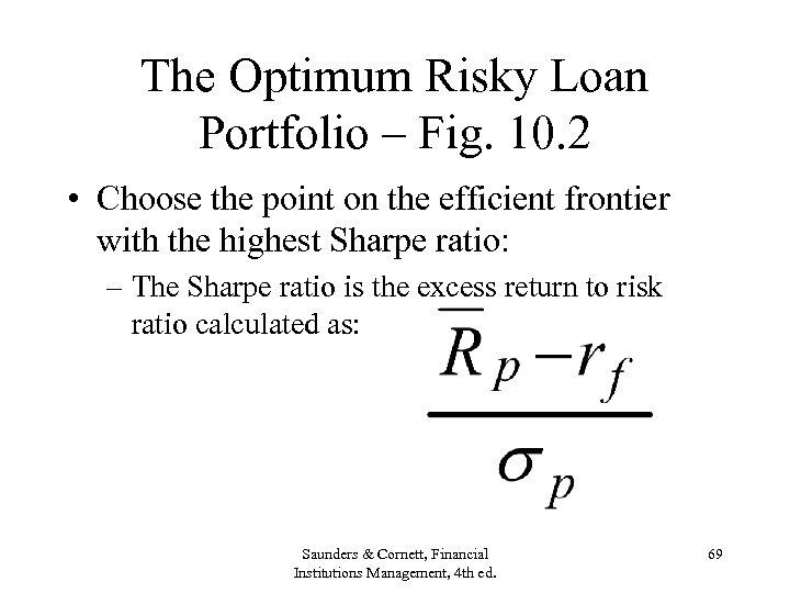 The Optimum Risky Loan Portfolio – Fig. 10. 2 • Choose the point on