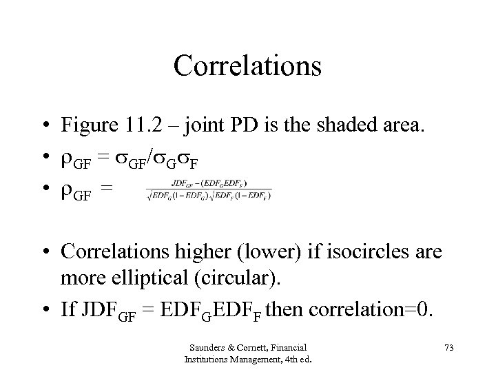 Correlations • Figure 11. 2 – joint PD is the shaded area. • GF