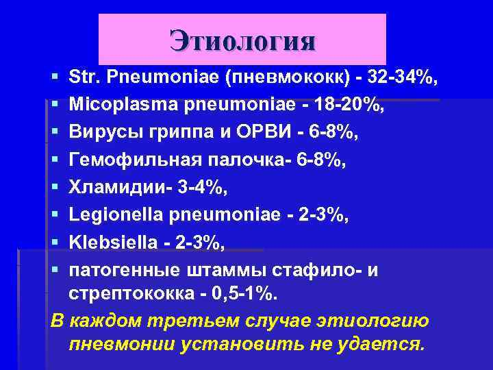 Этиология § § § § Str. Pneumoniae (пневмококк) - 32 -34%, Micoplasma pneumoniae -