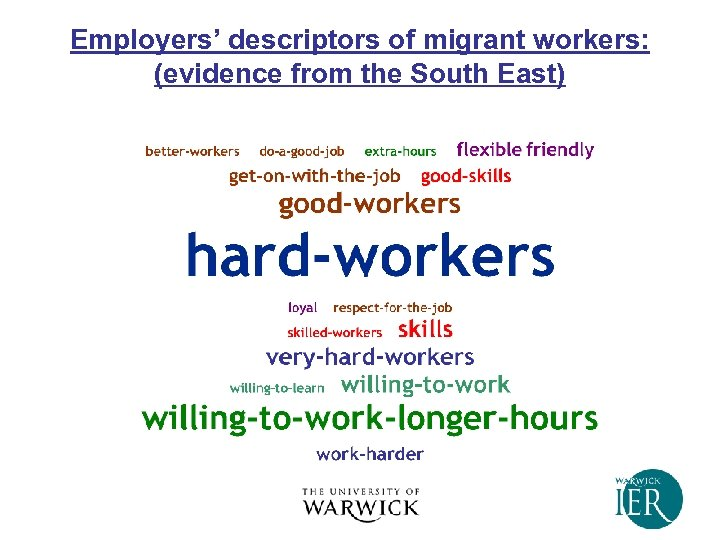 Employers' descriptors of migrant workers: (evidence from the South East)