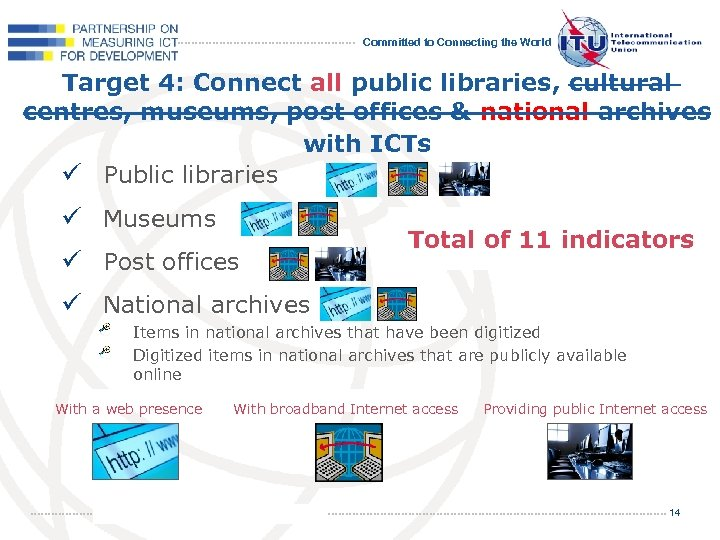 Committed to Connecting the World Target 4: Connect all public libraries, cultural centres, museums,