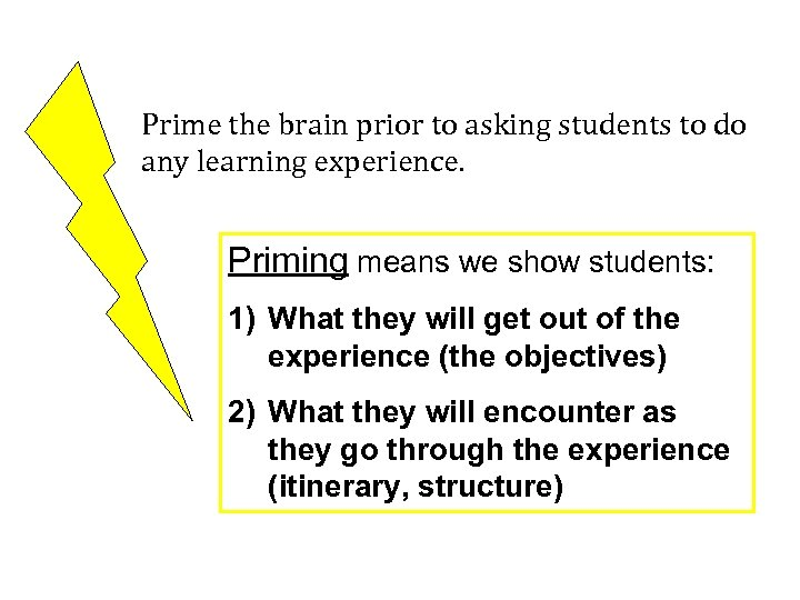 Prime the brain prior to asking students to do any learning experience. Priming means