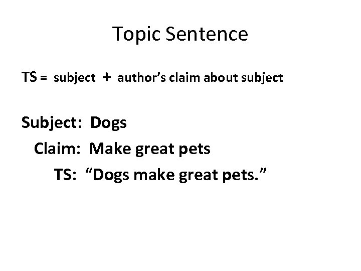 Topic Sentence TS = subject + author's claim about subject Subject: Dogs Claim: Make