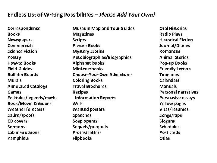 Endless List of Writing Possibilities – Please Add Your Own! Correspondence Books Newspapers Commercials