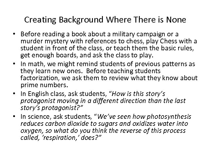 Creating Background Where There is None • Before reading a book about a military